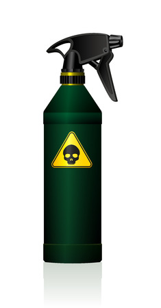 toxicity: Poison spray bottle for plant toxins insecticides pesticides biocides and etc  with a black skull on a yellow triangle as a hazard warning sign for toxicity. Isolated vector on white background.