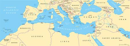 Bassin méditerranéenne Carte politique. Europe du Sud Afrique du Nord et Proche-Orient avec les capitales des frontières nationales rivières et les lacs. Étiquetage anglais et mise à l'échelle. Illustration. Vecteurs