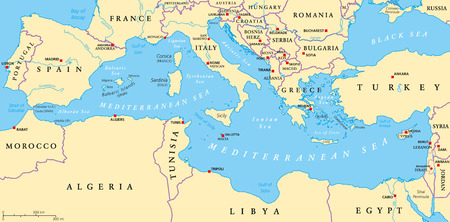 Región de tierras alrededor del mar Mediterráneo. Sur Europa del Norte de África y Oriente Próximo, con capiteles fronteras ríos y lagos nacionales. Etiquetado y escalado Inglés. Ilustración.