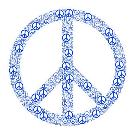 counterculture: Blue Peace Sign FORMED by many small peace symbols. Illustration on white background.