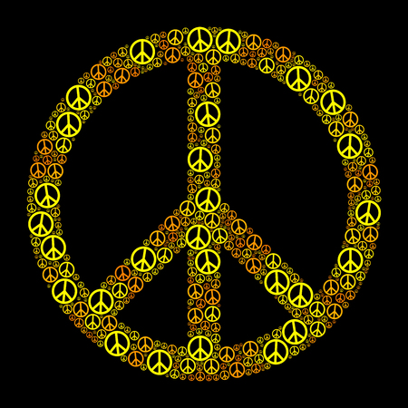 counterculture: Colored Peace Sign FORMED by many small peace symbols. Yellow orange illustration on black background.