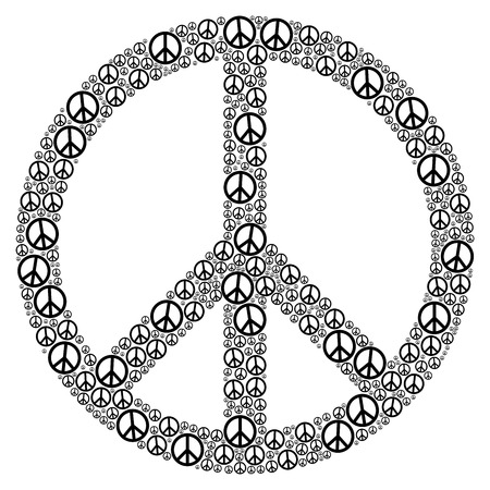 counterculture: Peace Sign FORMED by many small peace symbols. Illustration on white background.
