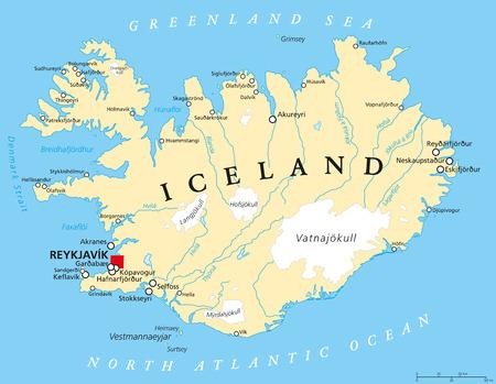 IJsland Politieke kaart met hoofdstad Reykjavik landsgrenzen belangrijke steden rivieren meren en gletsjers. Engels etikettering en scaling.