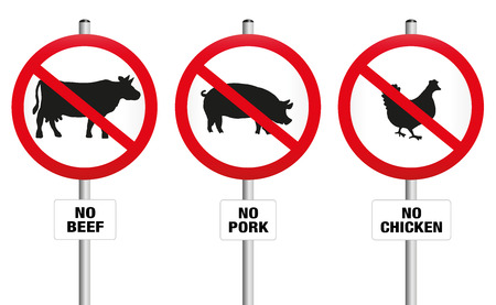 No beef pork and chicken  three prohibitory signs with crossed out pig cow and hen  a symbol against meat production and for vegetarian diet and lifestyle. Isolated vector illustration over white.