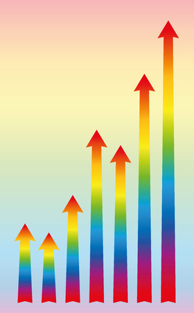 increase diagram: Increase or growth diagram with rainbow colored rising arrows. Vector illustration.