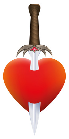 sword and heart: Sword in a heart as a symbol for emotional suffering and pain  Isolated vector illustration on white background. Illustration