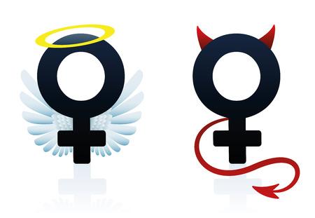 Good girl angel and bad girl devil figured as the female symbol. Isolated vector illustration on white background. Stock Illustratie