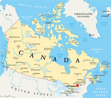 Canada Political Map with capital Ottawa national borders important cities rivers and lakes. English labeling and scaling. Illustration.
