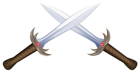 double cross: Crossed swords on white background. Isolated vector illustration.