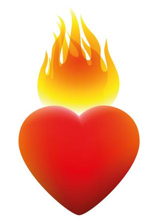 suffer: Burning heart on fire. Isolated vector illustration on white background. Illustration