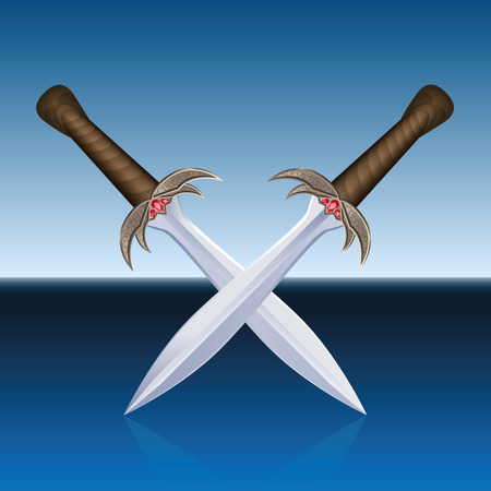 cross armed: Two crossed pirate swords. Isolated vector illustration on blue sea background.