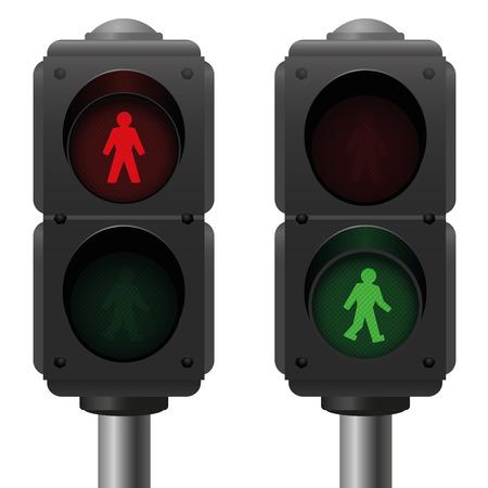 Luces peatonales un semáforo está en rojo y uno es verde. Ilustración vectorial aislado sobre fondo blanco. Vectores
