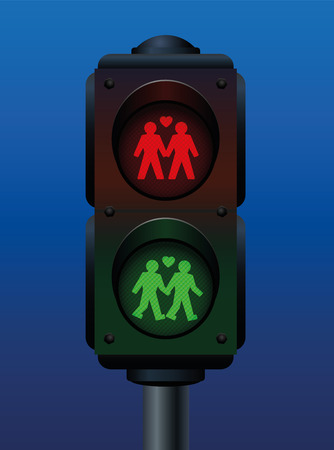 man holding sign: Pedestrian light with a gay love couple. Vector illustration on blue gradient background.