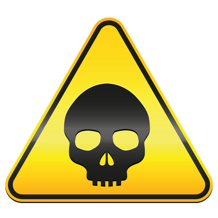 pictogram attention: Hazard warning sign  yellow triangle with black skull  isolated vector illustration over white background.