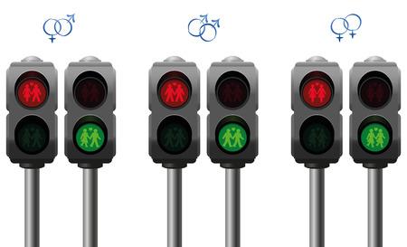 semaforo peatonal: Luces peatonales con un heterosexual un gay y un par amor lésbico. Ilustración vectorial aislados en fondo blanco.