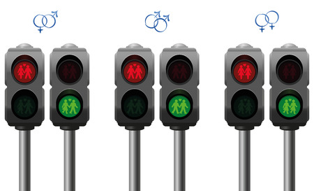 homo: Pedestrian lights with a heterosexual a gay and a lesbian love couple. Isolated vector illustration on white background. Illustration