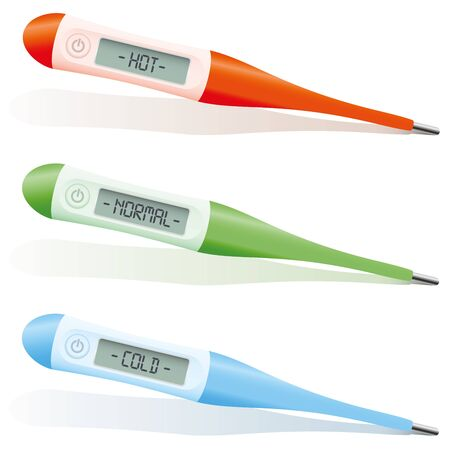 digital thermometer: Hot normal and cold temperature indexing on a red green and blue digital thermometer. Isolated vector illustration on white background.