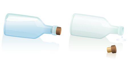 Horizontal lying fallen bottles  one is filled with water or any other clear liquid the other one is uncorked and empty. Isolated vector illustration on white background.