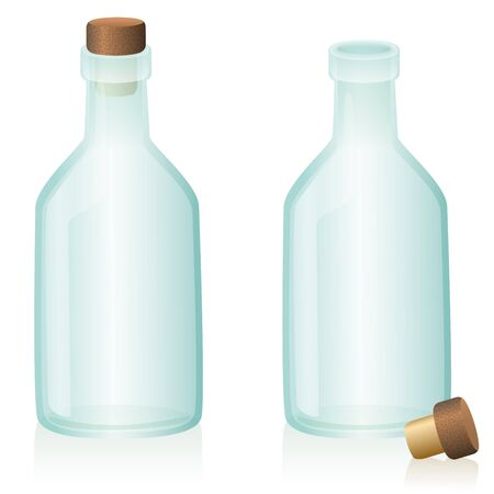 Corked and uncorked glass bottle  closed and open. Isolated vector illustration on white background. Illustration
