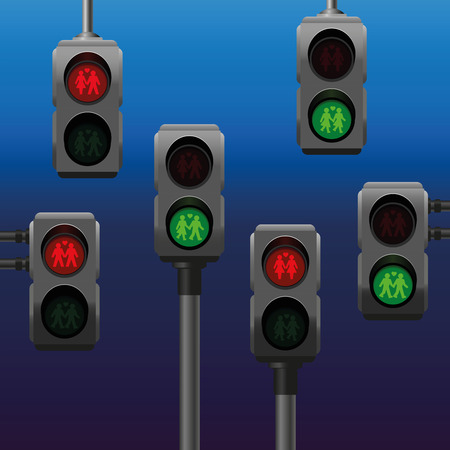 Traffic lights for pedestrians with gay lesbian and straight couple symbols. Isolated vector illustration on blue city night gradient background. Vector