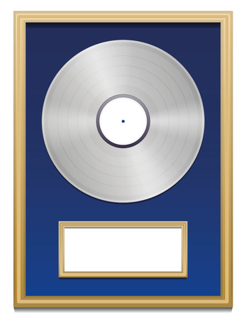 Platinum certification with blank plaque that can be labeled in a golden frame on blue ground. Isolated vector illustration over white background. Vector