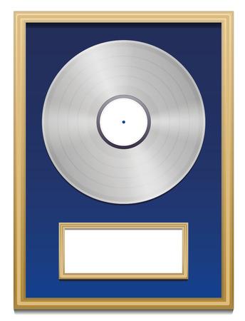 zertifizierung: Platinum-Zertifizierung mit leeren Plakette, in einem goldenen Rahmen auf blauem Grund markiert werden k�nnen. Isolierten Vektor-Illustration auf wei�em Hintergrund. Illustration