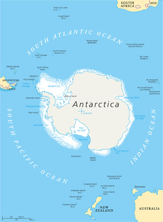 antarctic: Antarctic Region Political Map with south pole ice shelfs and islands. English labeling and scaling. Illustration.