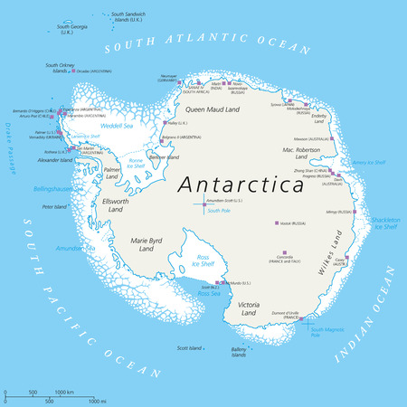 Antarctica Political Map with south pole scientific research stations and ice shelfs. English labeling and scaling. Illustration.