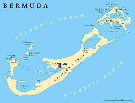 overseas: Bermuda Mapa Pol�tico con el capital Hamilton tambi�n llamado Las Bermudas o islas de Somers un territorio brit�nico de ultramar. Etiquetado y escalado Ingl�s. Ilustraci�n. Vectores