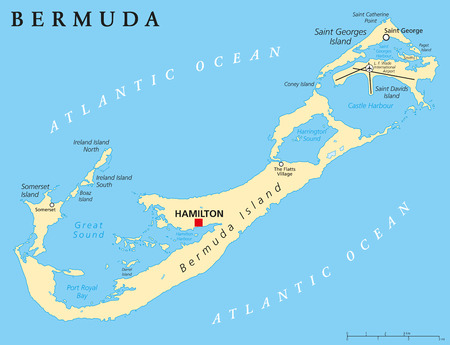 labeling: Bermuda Political Map with capital Hamilton also called The Bermudas or Somers Isles a British Overseas Territory. English labeling and scaling. Illustration.