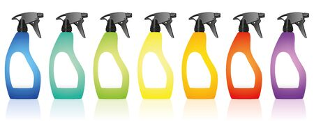 humidify: Spray bottles  colorful variations with blank labels. Isolated vector illustration over white background.