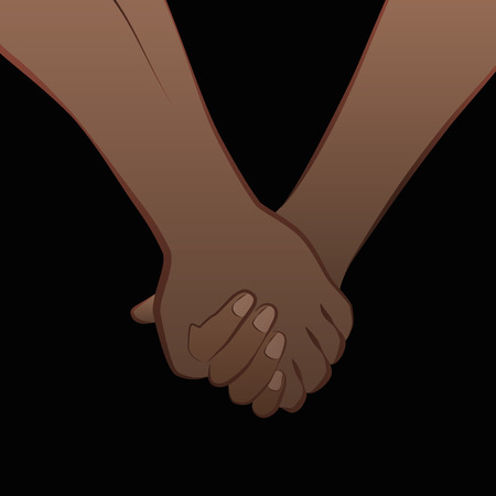 Black love couple holding hands. Isolated vector illustration on black background.