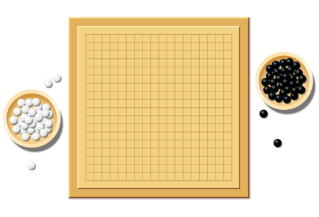wooden board: Go game with two wooden bowls filled with black and white stones  empty board start of play. Isolated vector illustration on white background.