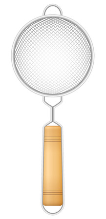 Metallic strainer with wooden handle  a charming vintage kitchen utensil. Isolated vector illustration on white background.