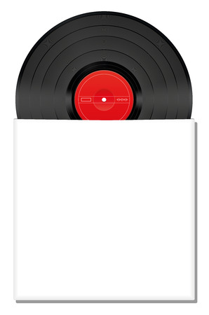Vinyl record halfway in a blank white album cover that can be labeled with any text logo or picture. Isolated vector illustration on white background. Vector