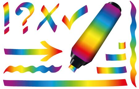 dynamically: Rainbow colored highlighter  marker strokes and signs.  Illustration