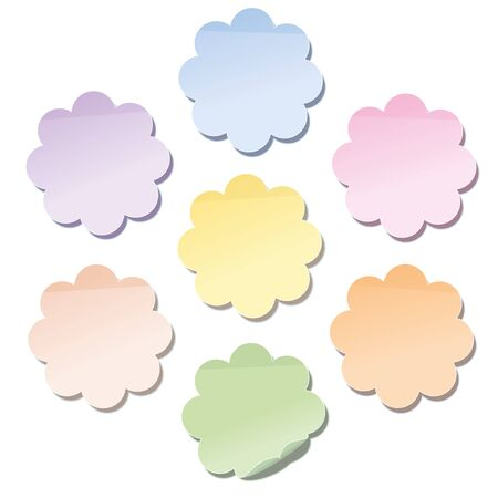 dainty: Self stick notes in flower shape  a set of seven different dainty pastel shades. Isolated vector illustration on white background.