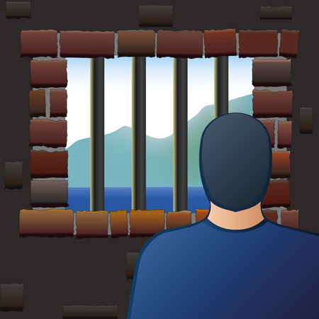 captivated: An arrested man is looking out of the barred window of a jail. Vector illustration. Illustration