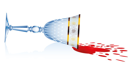 discolored: Spilled red wine tipped crystal glass. Isolated vector illustration over white background.