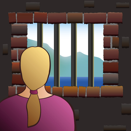 captivated: A confined woman is looking out of the barred window of a jail. Vector illustration. Illustration