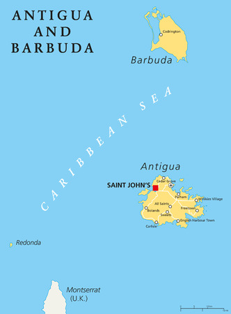 antigua: Antigua and Barbuda Political Map with capital Saint Johns and important places. English labeling and scaling. Illustration.