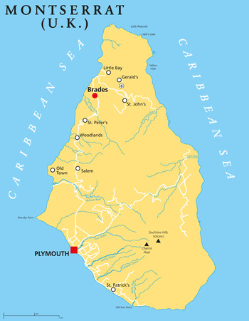 caribbean climate: Montserrat capital Plymouth Political Map with important places and rivers. English labeling and scaling. Illustration. Illustration