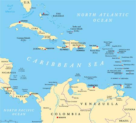 Mappa politica dei Caraibi con capitali confini nazionali città importanti fiumi e laghi. Etichettatura e ridimensionamento in inglese. Illustrazione. Vettoriali