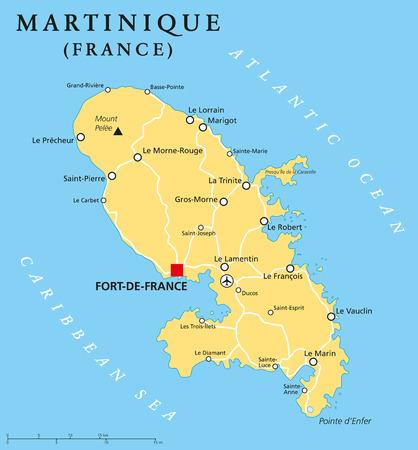 overseas: Mapa pol�tico Martinica con FortdeFrance capitales y lugares importantes. Regi�n de ultramar de Francia en la regi�n de las Antillas Menores del mar Caribe. Etiquetado y escalado Ingl�s. Ilustraci�n.