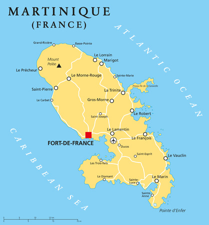 labeling: Martinique political map with capital FortdeFrance and important places. Overseas region of France in the Lesser Antilles region of the Caribbean Sea. English labeling and scaling. Illustration.