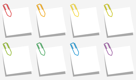paper fastener: Paper clips pinned on square notepads eight different colors. Isolated vector illustration on gray background.