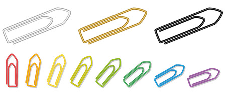 paper fastener: Paper clips  metallic silver golden black and rainbow colored realistic looking collection. Isolated vector illustration on white background.