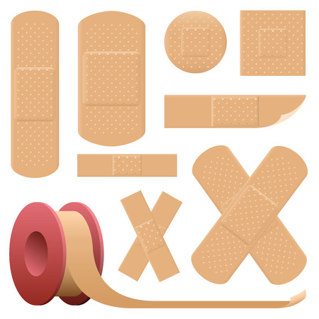 Plaster collection  various realistic looking adhesive bandages  very detailed such as threedimensional holes of breathable fabric. Isolated vector illustration on white background. Illustration