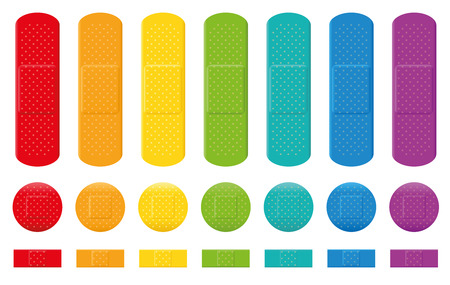 adhesive plaster: Plaster collection  seven different colors three various sizes. Isolated vector illustration on white background.