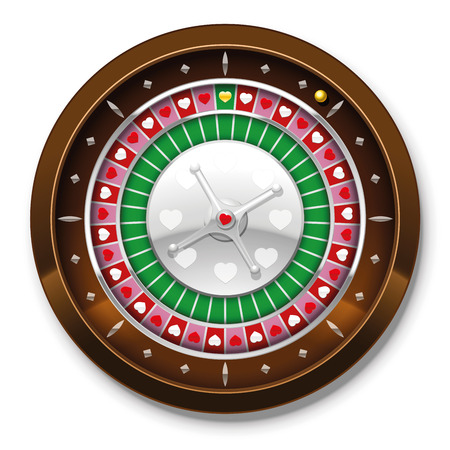 Roulette wheel with heart symbols instead of numbers. Isolated vector illustration on white background. Vector
